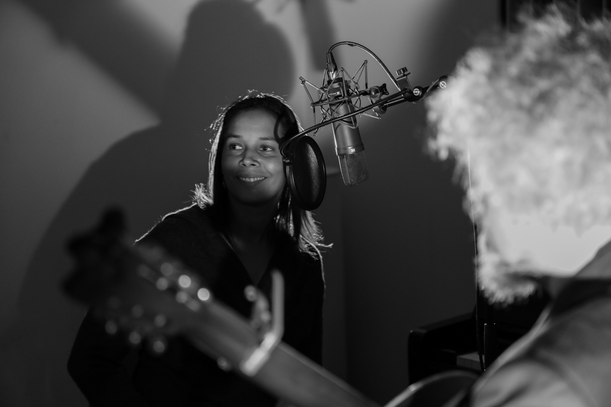 Rhiannon Giddens and Sxip Shirey recording All Babies Must Cry